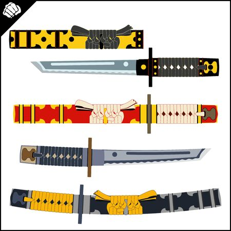 Japanes Samurai sword - katana. Martial arts. Vector EPS