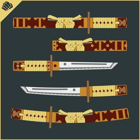 Japanes Samurai sword - katana. Martial arts. Vector EPS