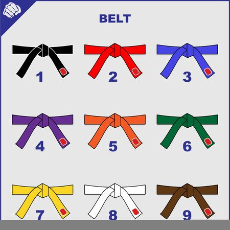 Colored belts for martial arts kimono set, dogi karate,bjj, judo, taekwondo, hapkido, karate. 矢量图像
