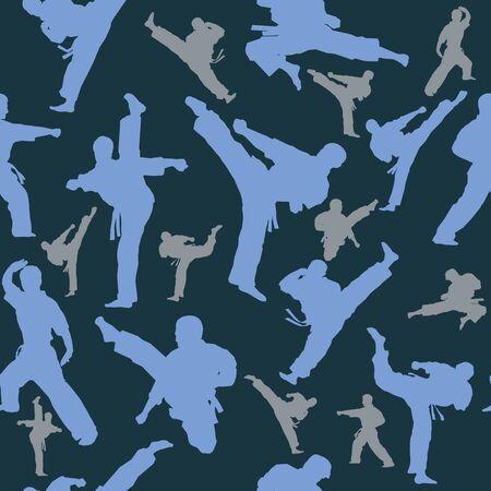 Seamless Texture Pattern MMA logo fist presswall. Vector, EPS. Stock Illustratie
