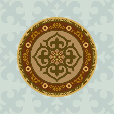 Shield of the Kazakh warrior, the Mongol. Asian National Sora in a circle. Steppe motifs