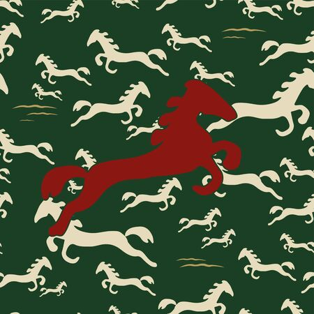 Wild Horses Seamless Pattern. Republic of Kazakhstan texture art