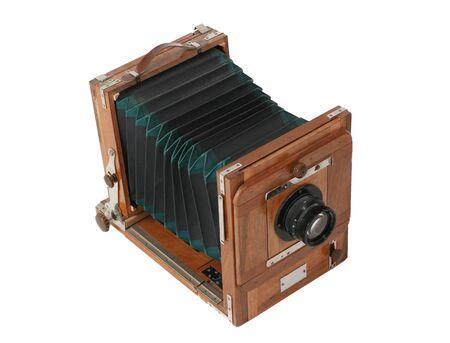 Old vintage black camera isolated on white background Stock fotó