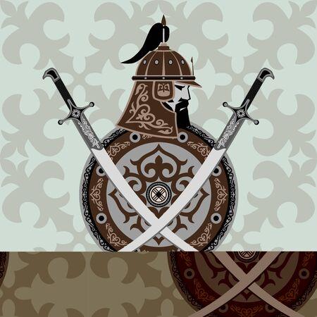 Asian warrior nomad. Helmet, shield, saber. Gaming, sports logo. Logo