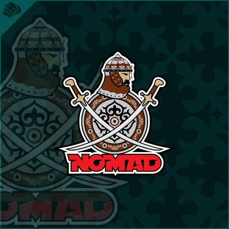 Central Asian warrior nomads, Isolated vector illustration in flat cartoon style logo . Kazakhstan. Logo
