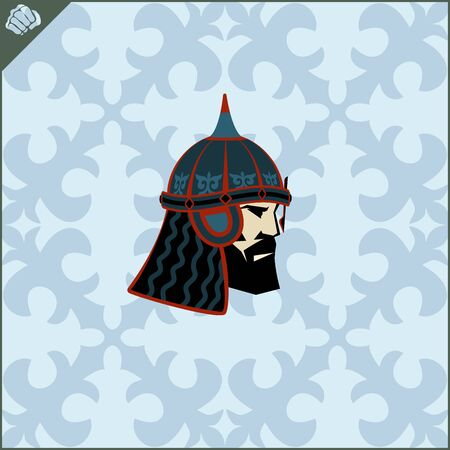 Central Asian warrior nomads, Isolated vector illustration in flat cartoon style logo . Kazakhstan.