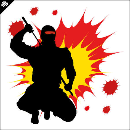 Japan ninja warrior colored simbol design. Karate emblem.