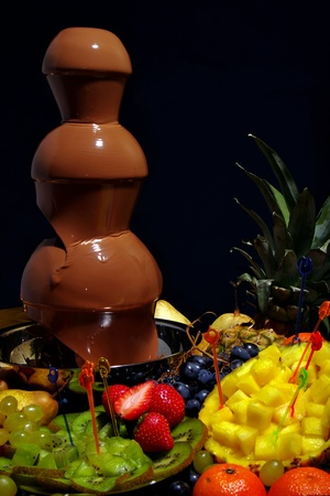 chocolate, foudue,fruit, fountain,sweet Stock Photo