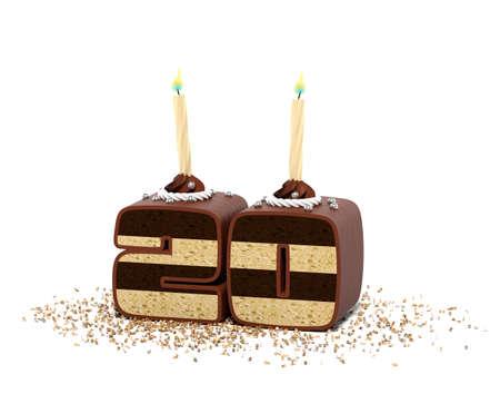 twenty years anniversary cake with candles 3D rendering Stock fotó