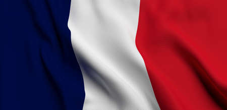 french flag in the wind 3D rendering