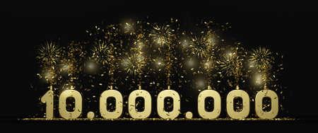 ten million followers or prize black background 3D rendering