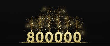 800K followers thank you illustration 3D rendering