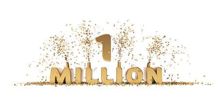 One million achievement celebration 3D rendering text white background