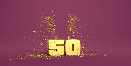 fifty years old, word in 3D golden on a purple background Stock fotó