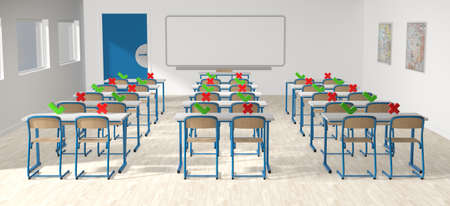3D rendering - back to school with coronavirus - classroom