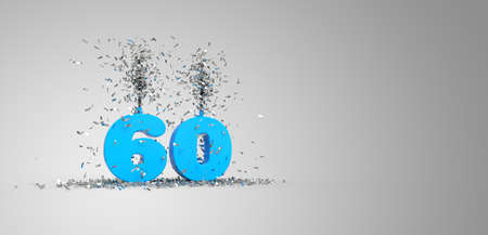60 years, blue text, gray background 3D rendering