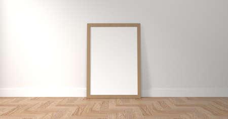 picture frame on white wall Archivio Fotografico