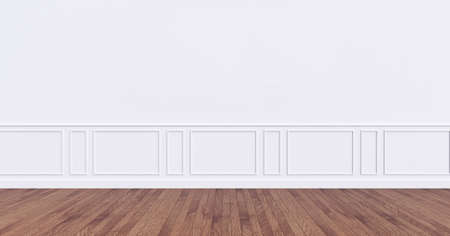 empty modern interior, blank wall 3D rendering