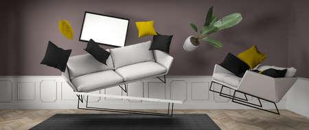 furniture levitating in an apartment 3D rendering Archivio Fotografico