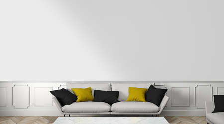 living room with blank wall 3D rendering