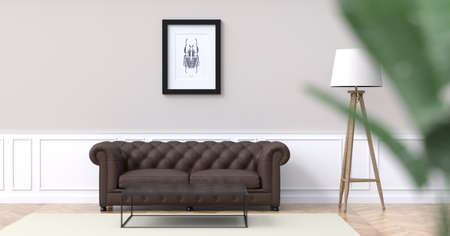 blank TV screen in front of a couch 3D rendering