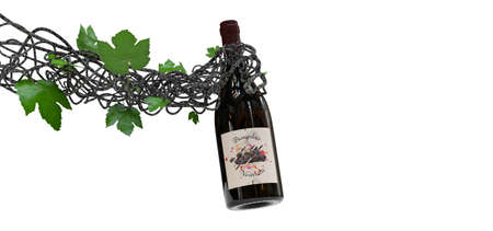 vine in the shape of an arm holding a bottle of wine 3D rendering