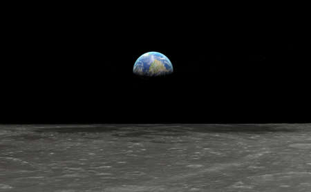 Earth seen from the moon - 3D rendering