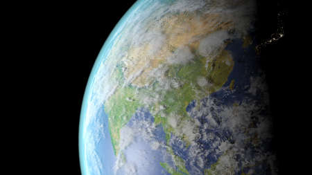 China seen from space 3D rendering
