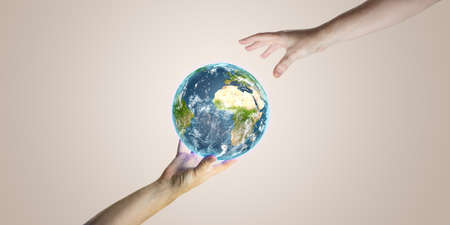 Planet Earth with Hands Around 3D rendering