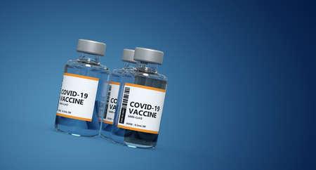 3 vials of vaccine on blue background - 3D rendering