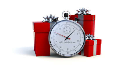 chronometer and Christmas gifts, last orders before Christmas - 3D rendering Stock Photo