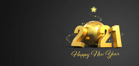 2021 greetings card background gray and gold - 3D rendering Stockfoto