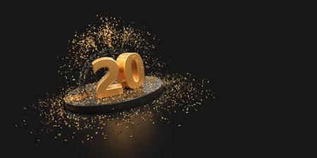 twentieth anniversary celebration with confetti - 3D rendering