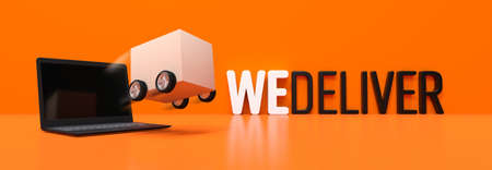 We deliver, cardboard with wheels background - 3D rendering