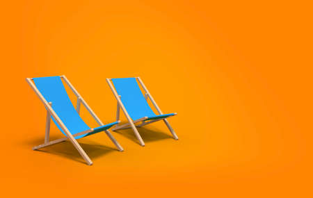 two deckchairs on yellow background - 3d rendering Stock fotó