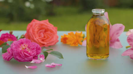 Close up roses, lilies and calendula flowers on a glass table outdoors. Bottle with base oil. Skin care and aromatherapy concept. Macro shooting, camera slowly moving on slider. Dolly shot. Archivio Fotografico