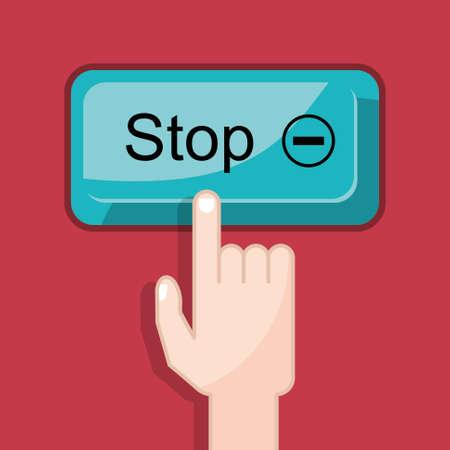 press button stop Vector