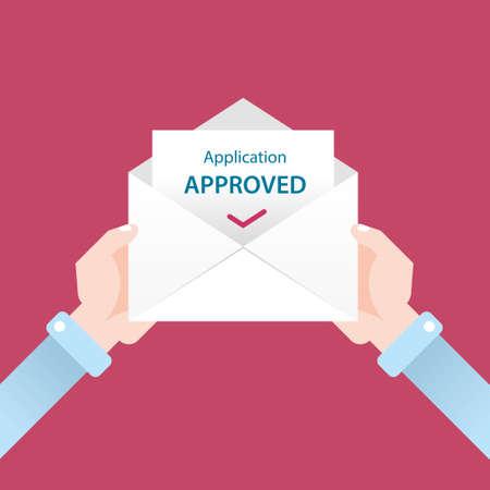 letter of application: letter in envelope. application approved Illustration