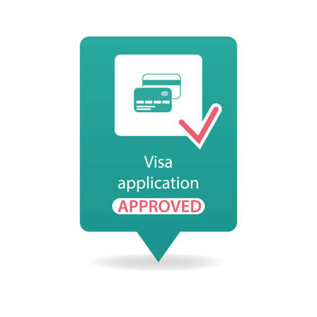 visa approved: visa application approved Illustration