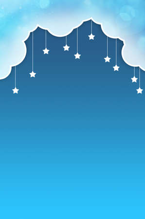 background with clouds, the new moon and the stars photo