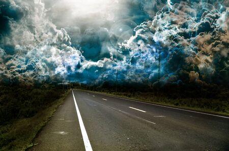 horizon over land: asphalt blur Stock Photo