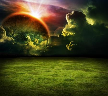 horizon over land: background Stock Photo