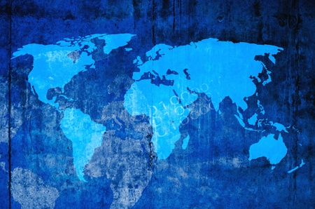 world map blue: background Stock Photo