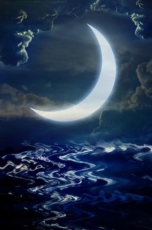 crescent moon: background Stock Photo