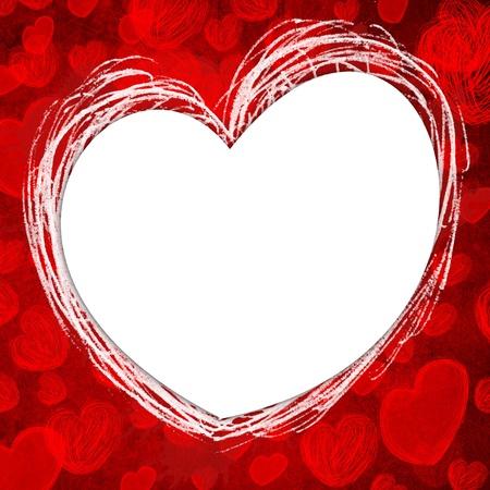 wedding photo frame: Hearts Frame on grunge background
