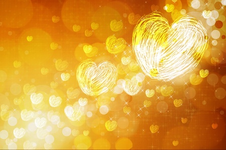 illuminated wall: yellow  background with hearts