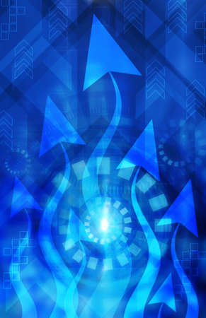 Abstract technology blue background with arrows photo