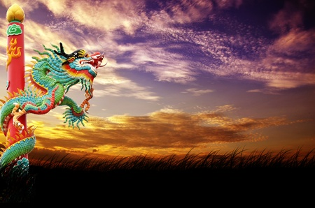 dragon and sunset background  photo