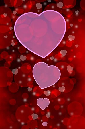 Red background with pink hearts photo