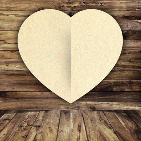 heart on wood background photo
